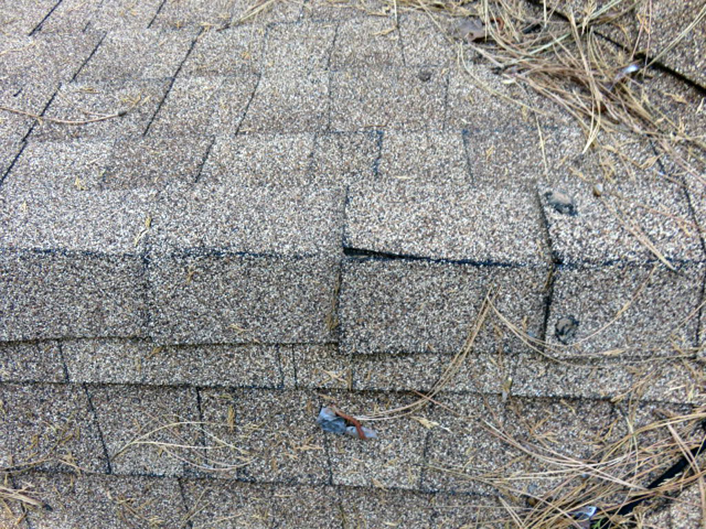 The ridge shingles are the first to fail and age and should be repaired or replaced.