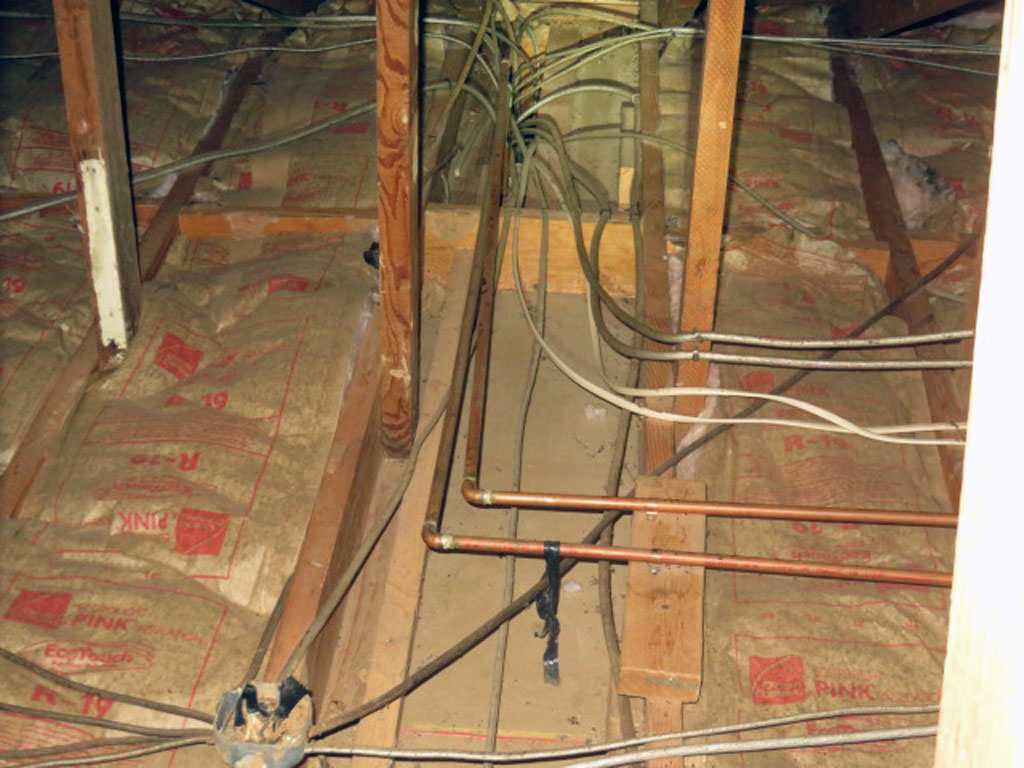 Missing insulation in the attic? Often work or remodel will displace insulation and all water pipes should be insulated against freeze damage. A frozen pipe in the attic is one leading cause of major water damage in homes